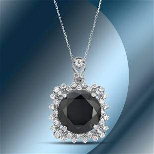 14K Gold 11.15cts Black Diamond Pendant