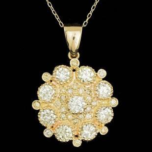 14k Yellow Gold 2.85ct Diamond Pendant
