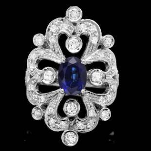 14k Gold 1.75ct Sapphire 1.15ct Diamond Ring