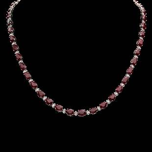 14K Gold 37.05ct Ruby 1.35ct Diamond Necklace
