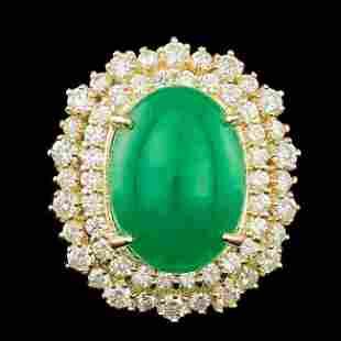 14k Yellow Gold 6.50ct Jade 2.00ct Diamond Ring