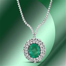 14K Gold 17.08cts Emerald & 11.77cts Diamond Necklace