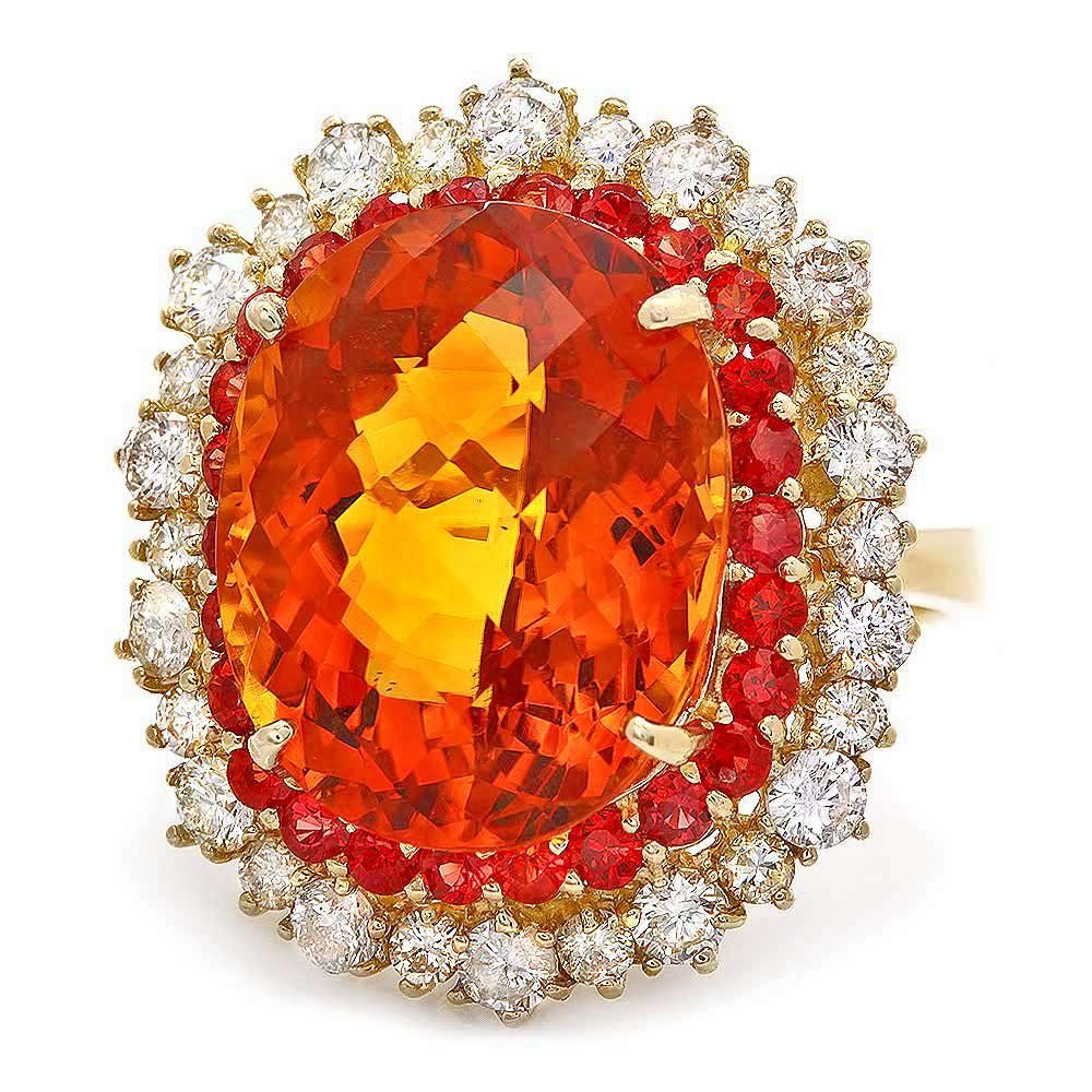 14k Gold 12.00ct Citrine 1.30ct Diamond Ring