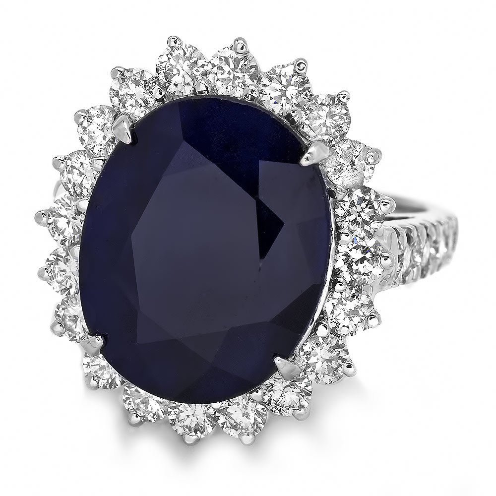 14k Gold 12.50ct Sapphire 1.60ct Diamond Ring