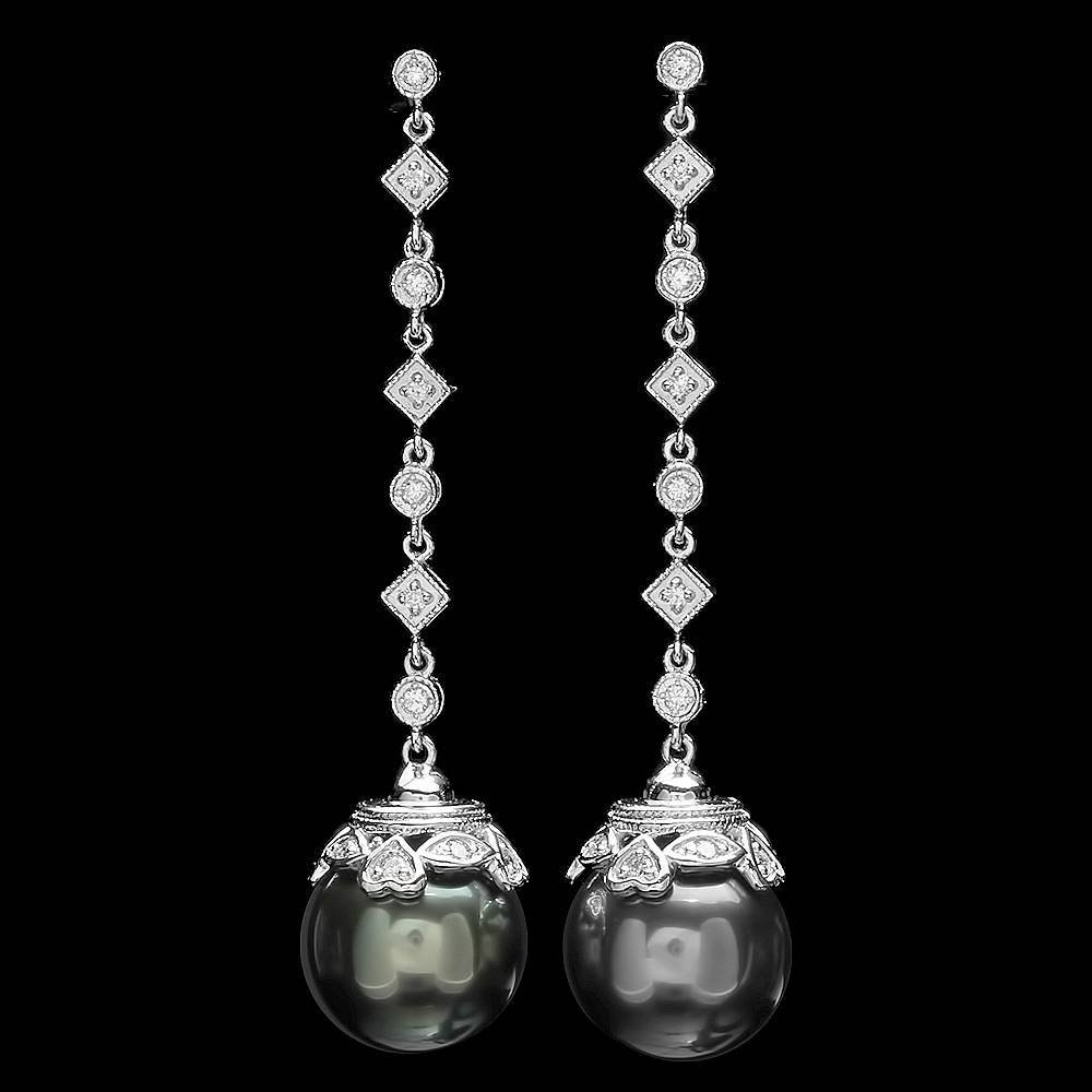 14k White Gold 12mm Pearl 0.25ct Diamond Earrings