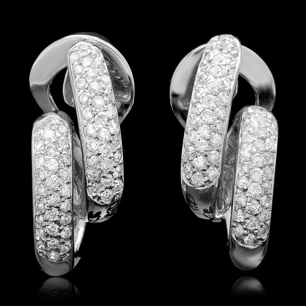 14k White Gold 1.35ct Diamond Earrings