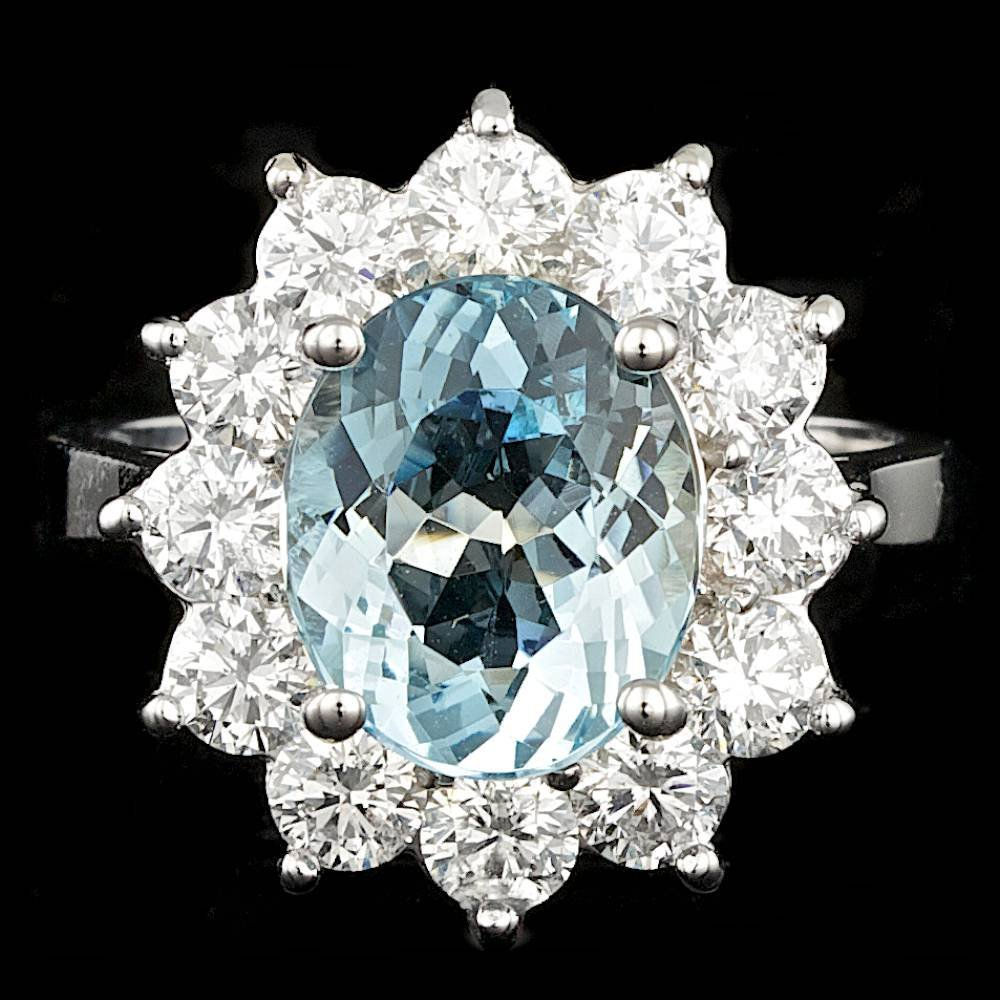 14k Gold 6.00ct Aquamarine 1.75ct Diamond Ring