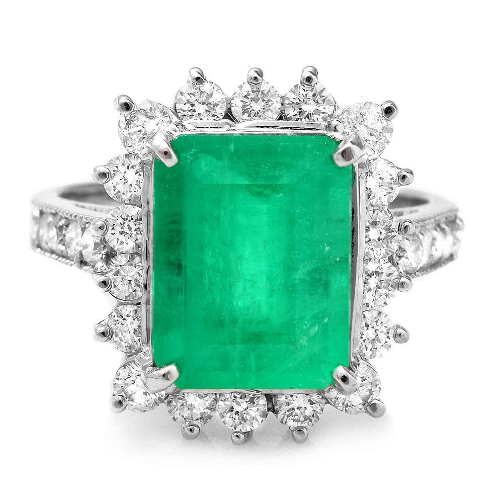 14k White Gold 4.00ct Emerald 1.00ct Diamond Ring