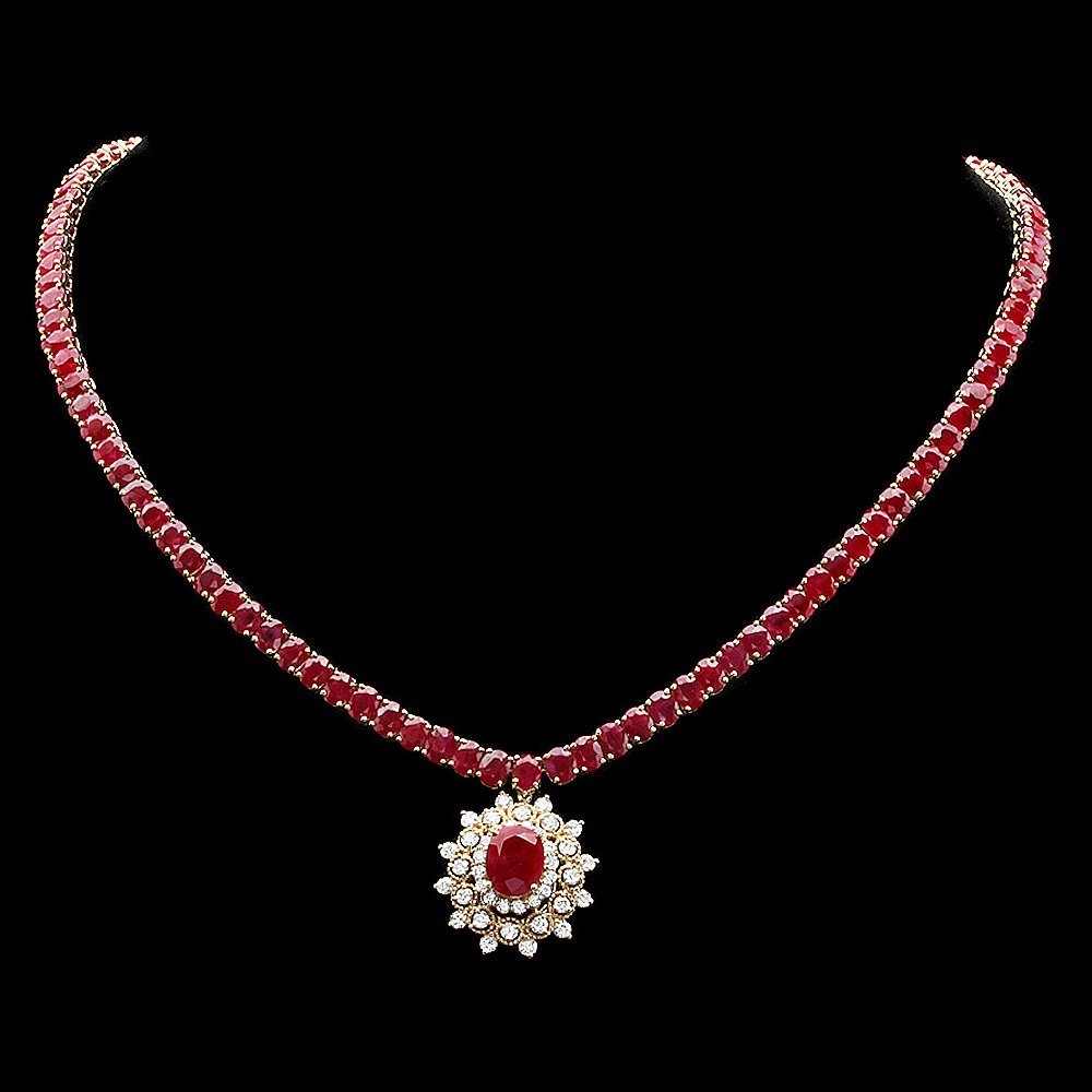 14k Yellow Gold 51ct Ruby 1.70ct Diamond Necklace
