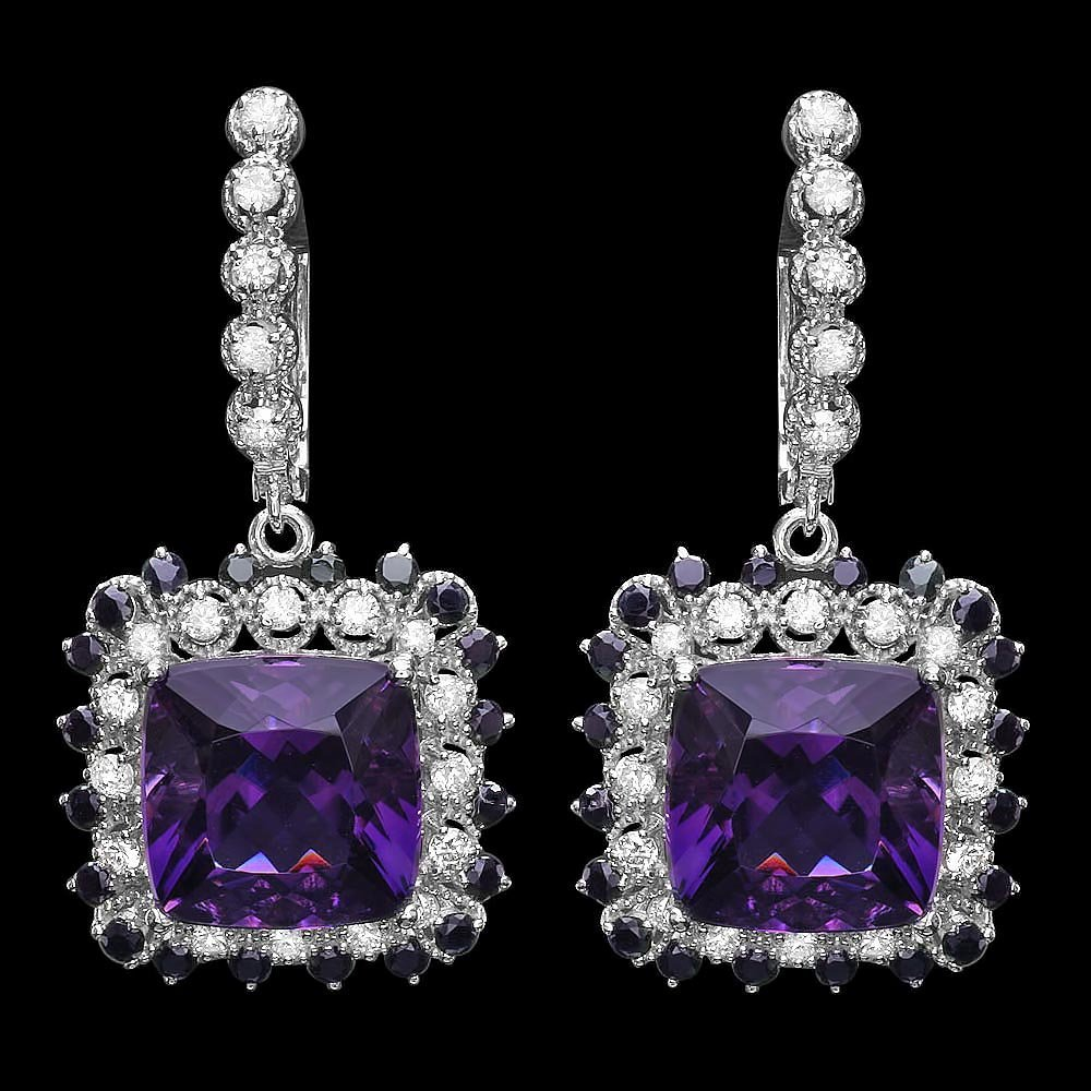14k Gold 14ct Amethyst 1.15ct Diamond Earrings