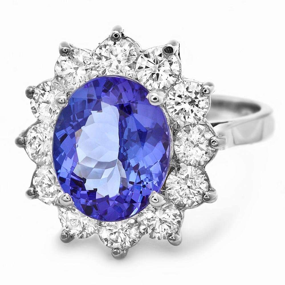 14k Gold 4.00ct Tanzanite 1.60ct Diamond Ring