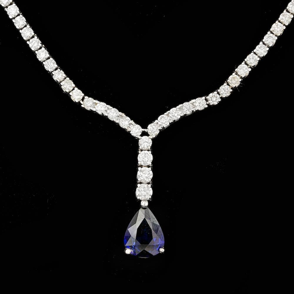 18k Gold 1.50ct Sapphire 4.20ct Diamond Necklace