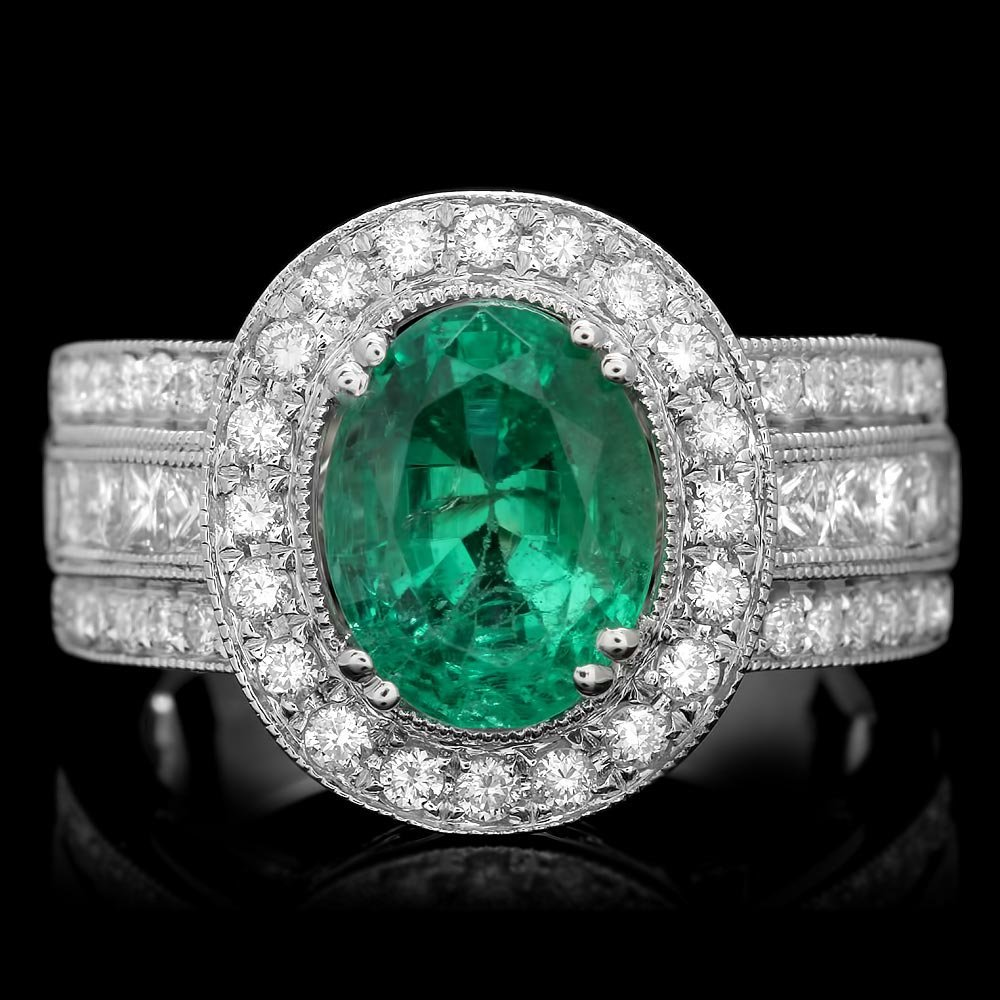 14k White Gold 2.50ct Emerald 1.2ct Diamond Ring
