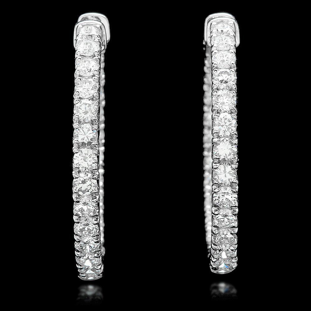 14k White Gold 5.75ct Diamond Earrings