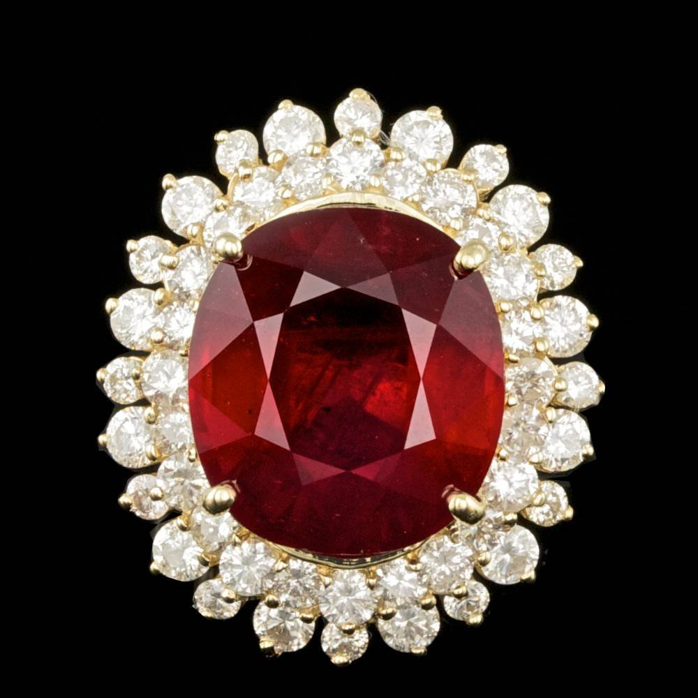 14k Yellow Gold 12.00ct Ruby 2.00ct Diamond Ring