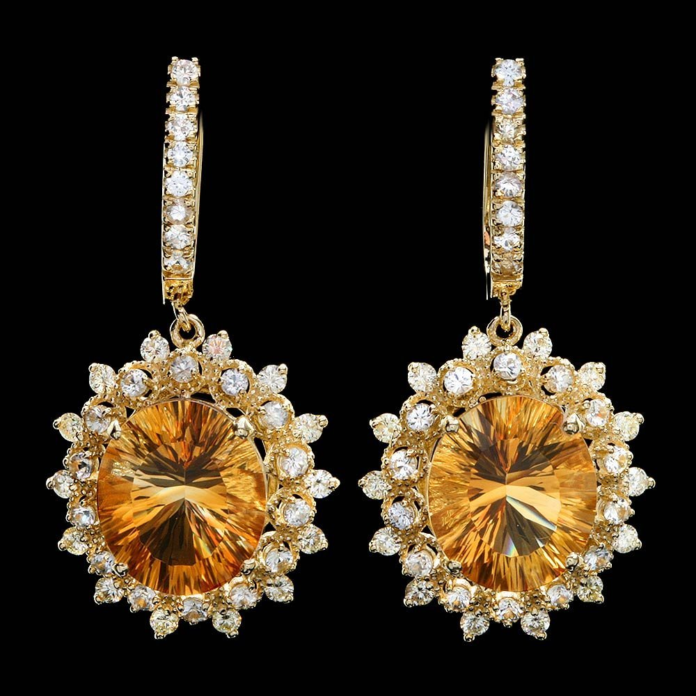 14k Gold 10.00ct Citrine 2.00ct Diamond Earrings