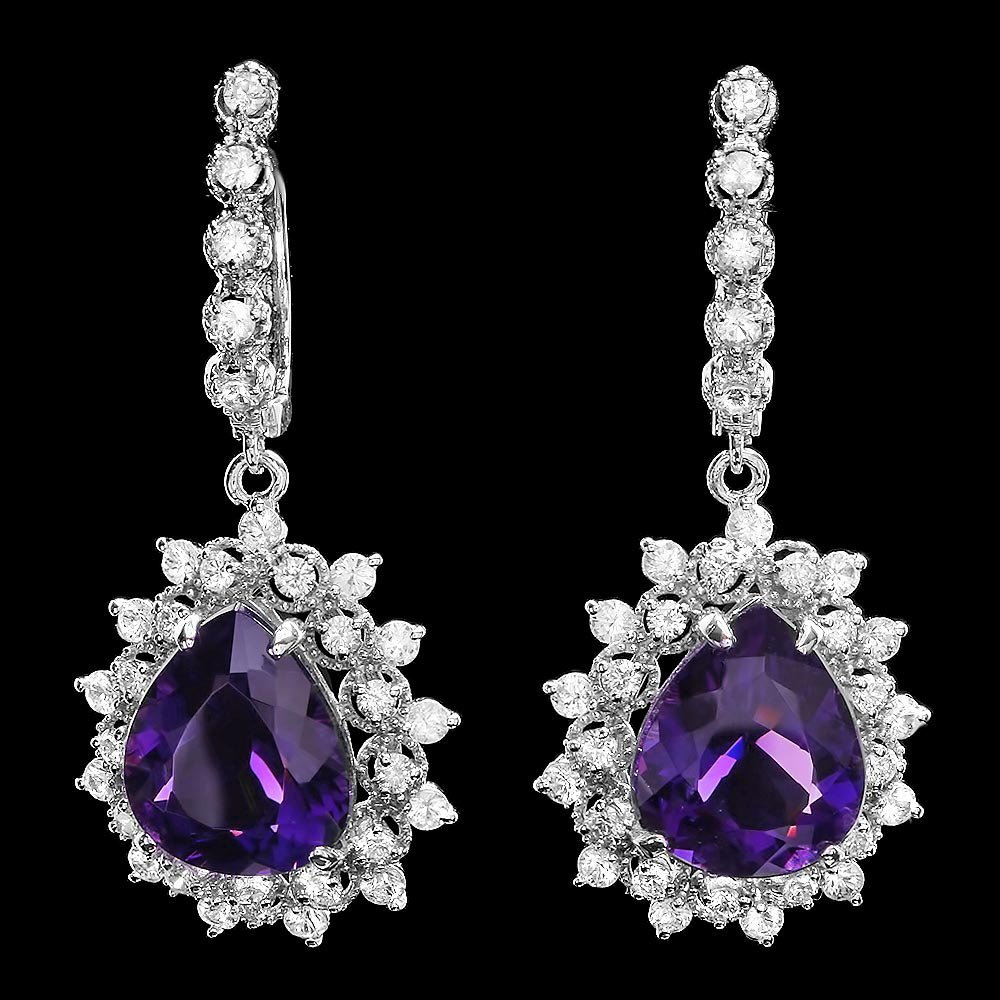 14k Gold 11.00ct Amethyst 2.00ct Diamond Earrings