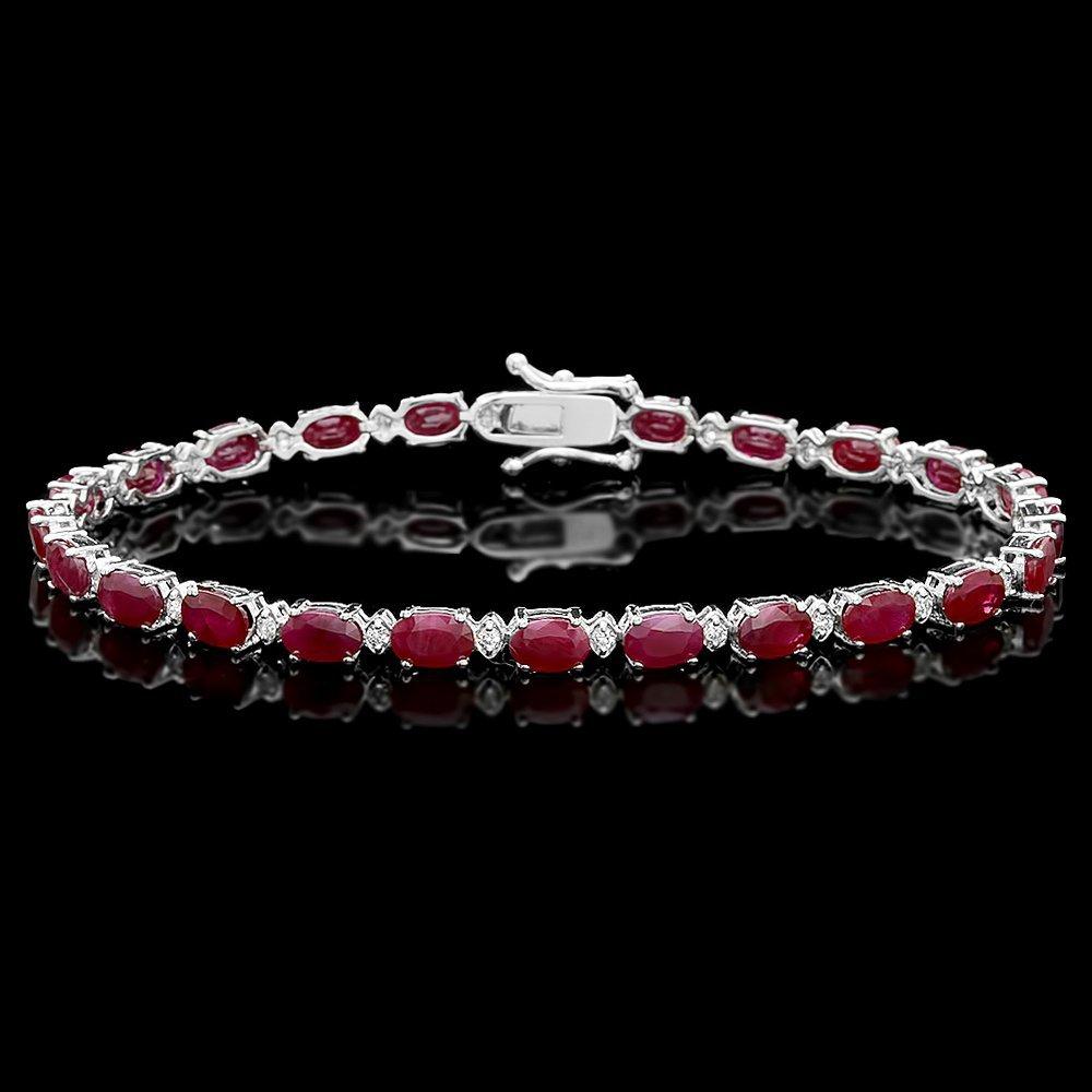 14k Gold 14.50ct Ruby 0.55ct Diamond Bracelet