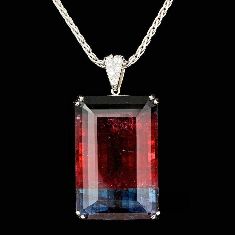 14k 114.00ct Tourmaline 0.30ct Diamond Pendant