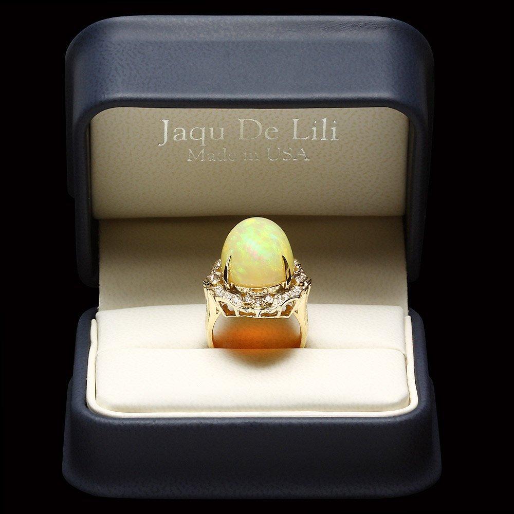 14k Yellow Gold 17.00ct Opal 0.65ct Diamond Ring