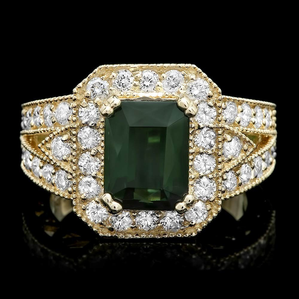 14k Gold 3.00ct Tourmaline 1.20ct Diamond Ring