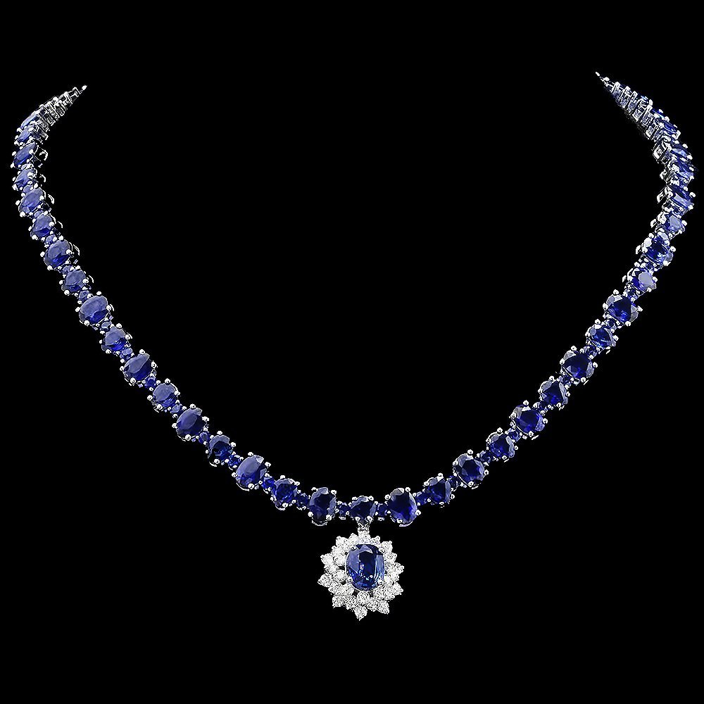 14k Gold 49.5ct Sapphire 1.70ct Diamond Necklace