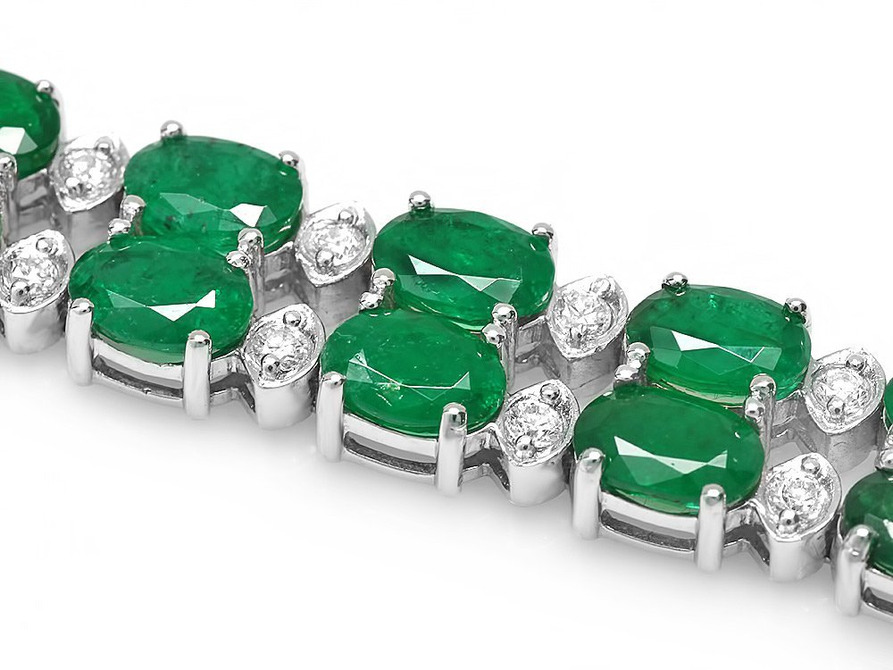 14k Gold 18ct Emerald 1.10ct Diamond Bracelet