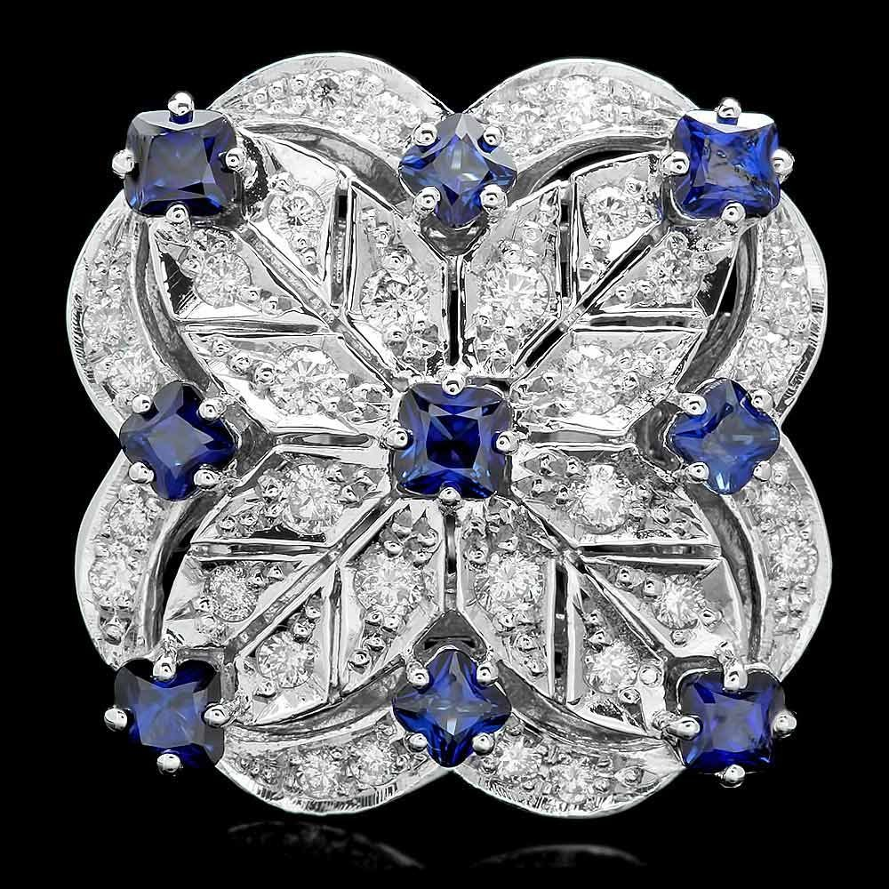14k Gold 3.00ct Sapphire 1.15ct Diamond Ring