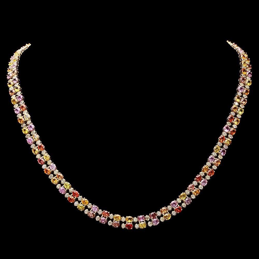 14k Gold 25.00ct Sapphire 3.00ct Diamond Necklace