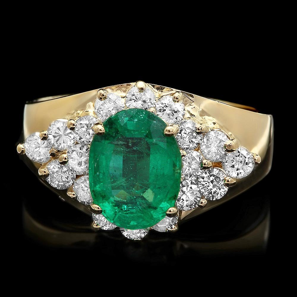 14k Gold 1.70ct Emerald 0.90ct Diamond Ring