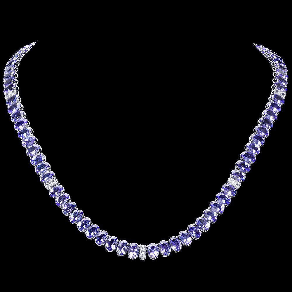 14k 54.00ct Tanzanite 2.00ct Diamond Necklace