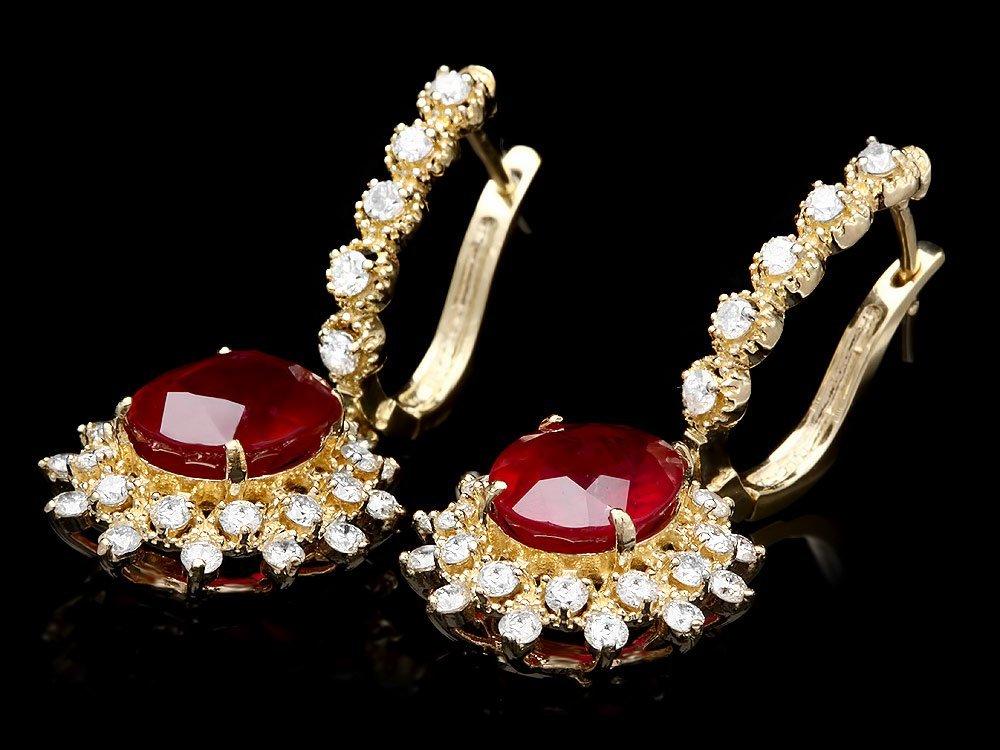14k Gold 8.00ct Ruby 1.60ct Diamond Earrings