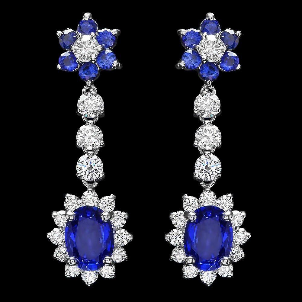 14k Gold 3.35ct Sapphire 2ct Diamond Earrings