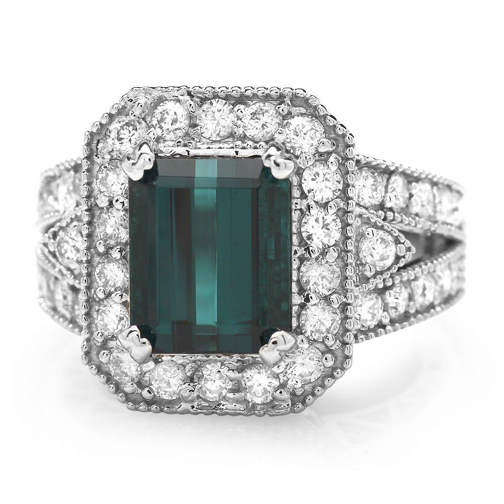 14k Gold 3.50ct Tourmaline 1.35ct Diamond Ring