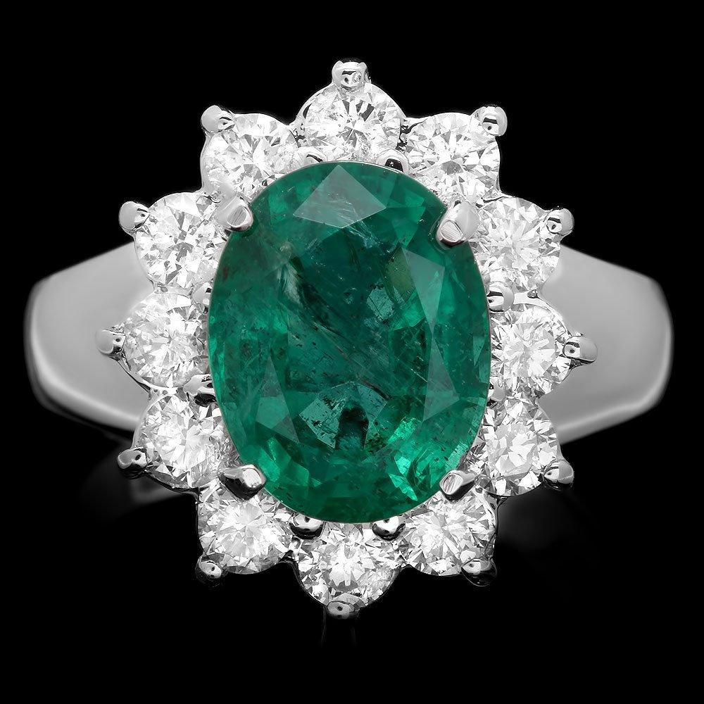 14k White Gold 3.50ct Emerald 1.10ct Diamond Ring