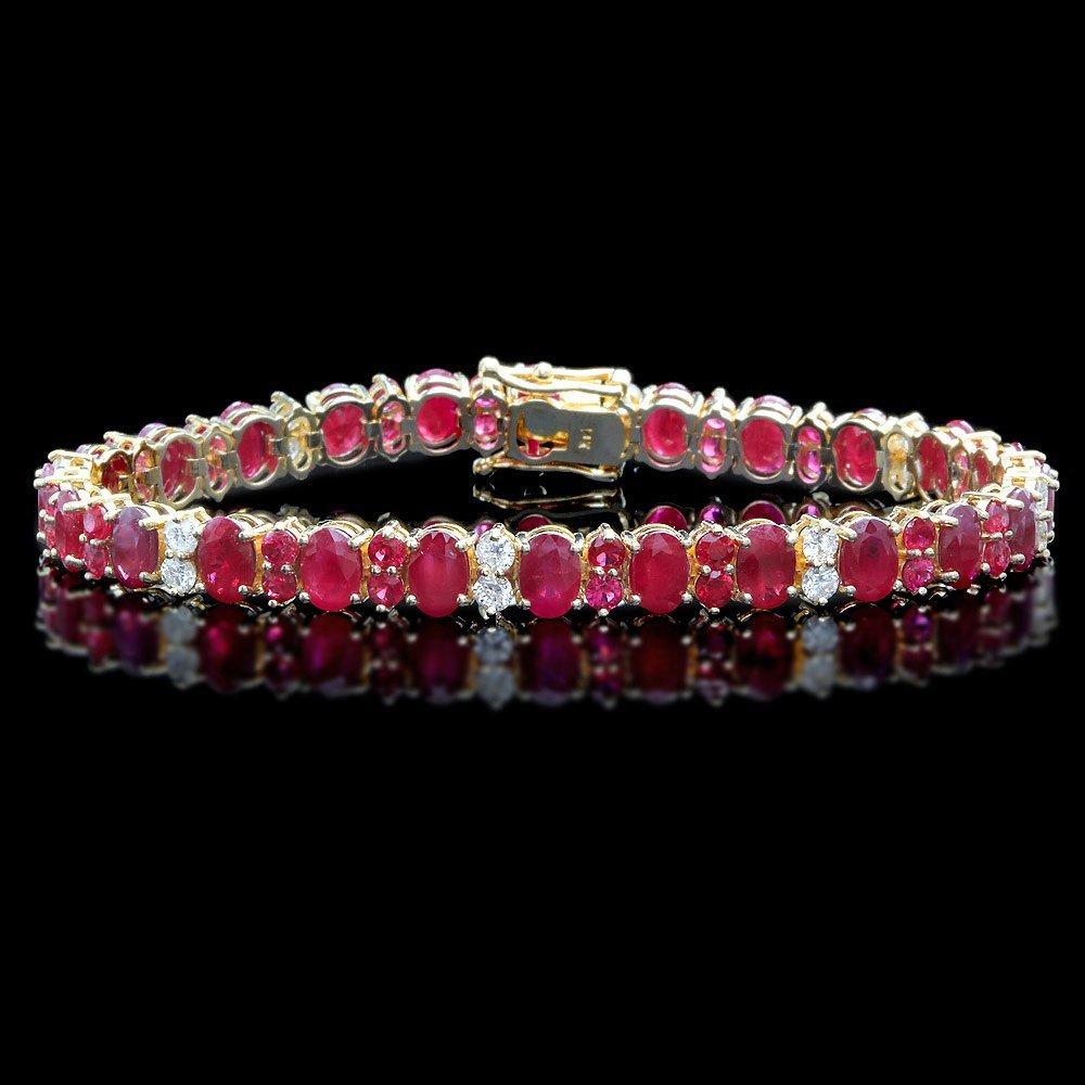 14k Yellow Gold 18ct Ruby 1.15ct Diamond Bracelet
