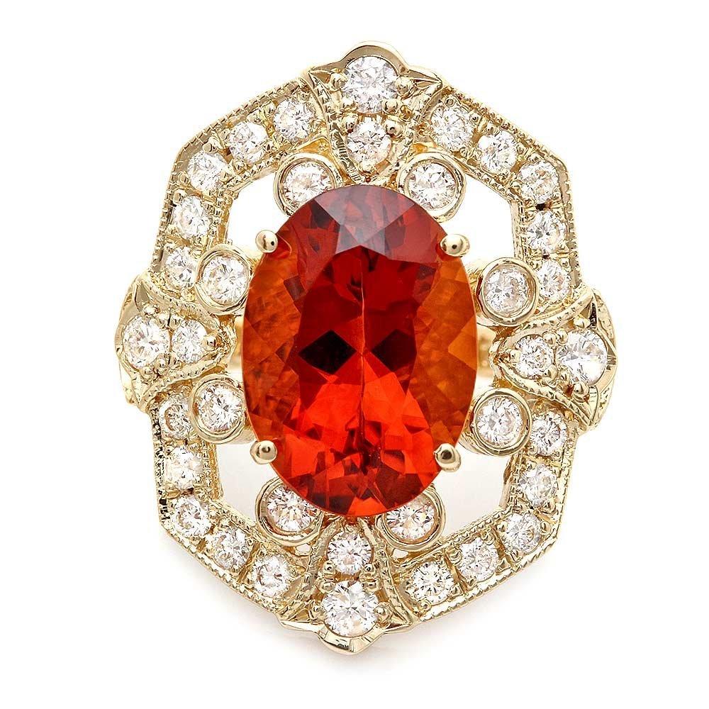 14k Gold 5.50ct Citrine 1.25ct Diamond Ring