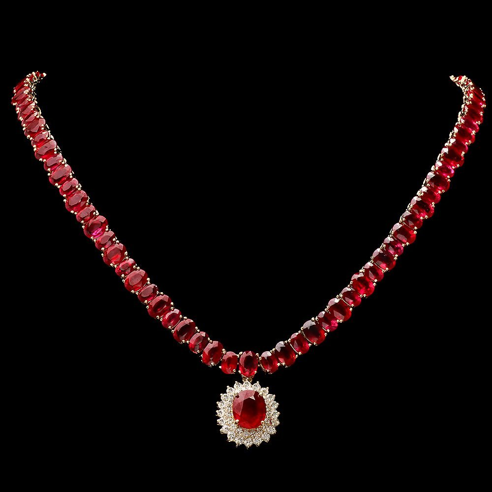 14k Gold 101ct Ruby 2.15ct Diamond Necklace