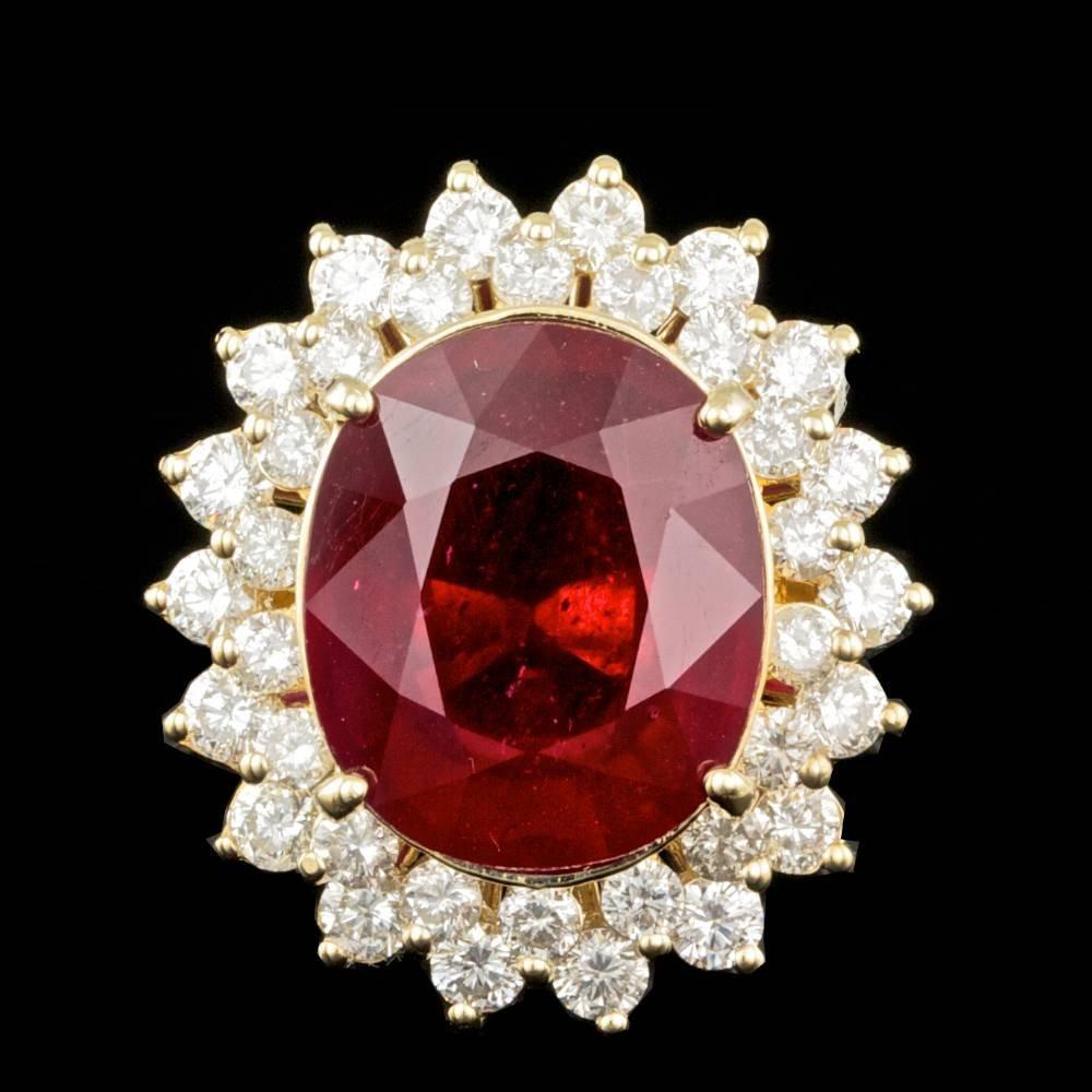 14k Yellow Gold 12.00ct Ruby 1.95ct Diamond Ring