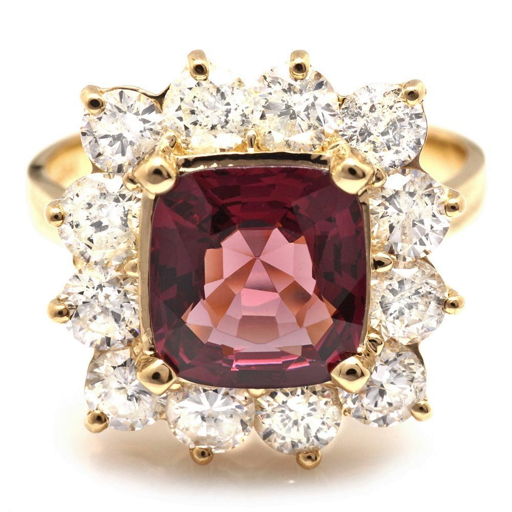 14k Yellow Gold 2.40ct Spinel 2.00ct Diamond Ring
