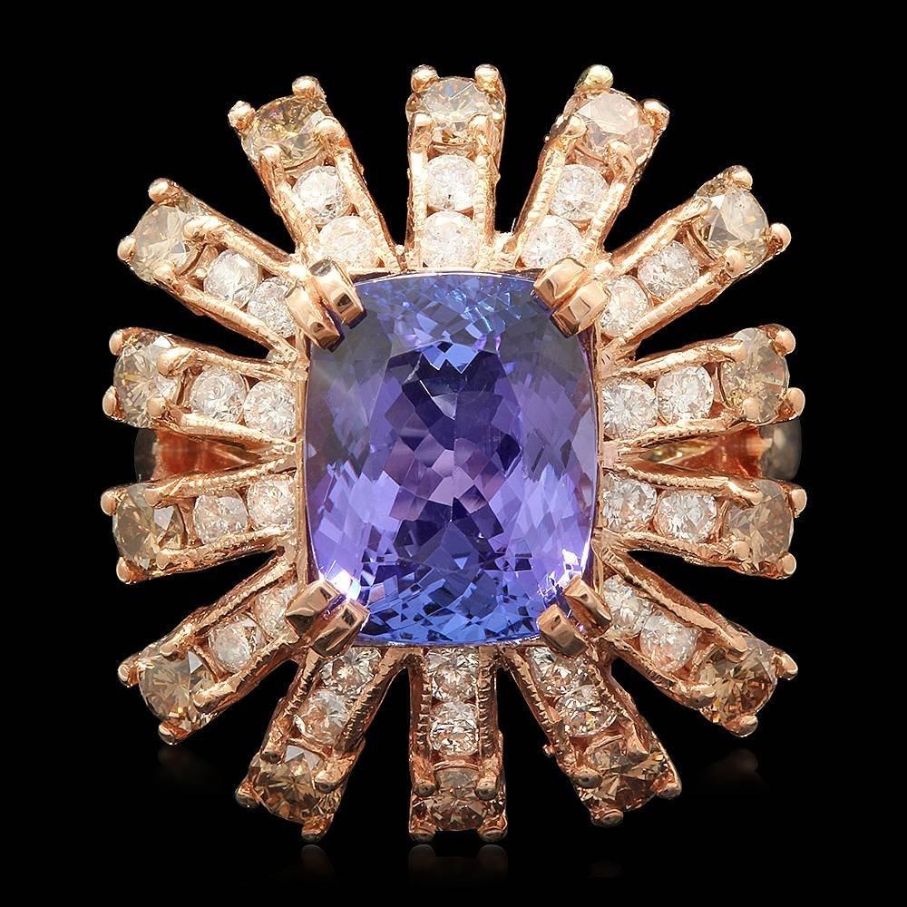 14k Rose Gold 3.60ct Tanzanite 2ct Diamond Ring
