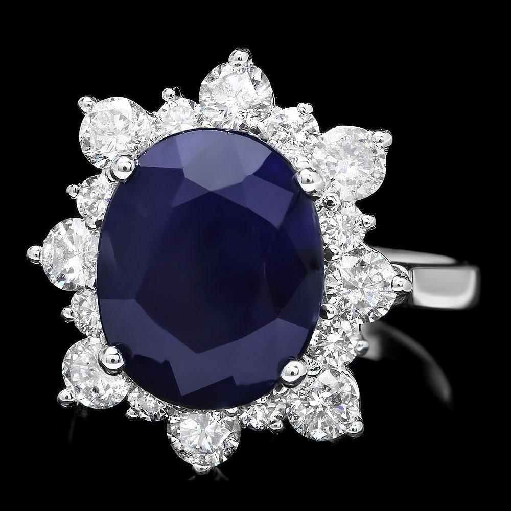 14k Gold 6.50ct Sapphire 1.35ct Diamond Ring