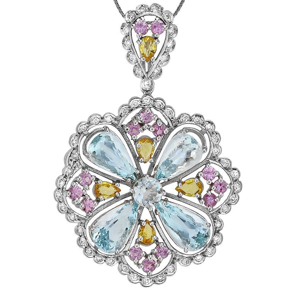 14k Gold 17ct Aquamarine 1ct Diamond Pendant