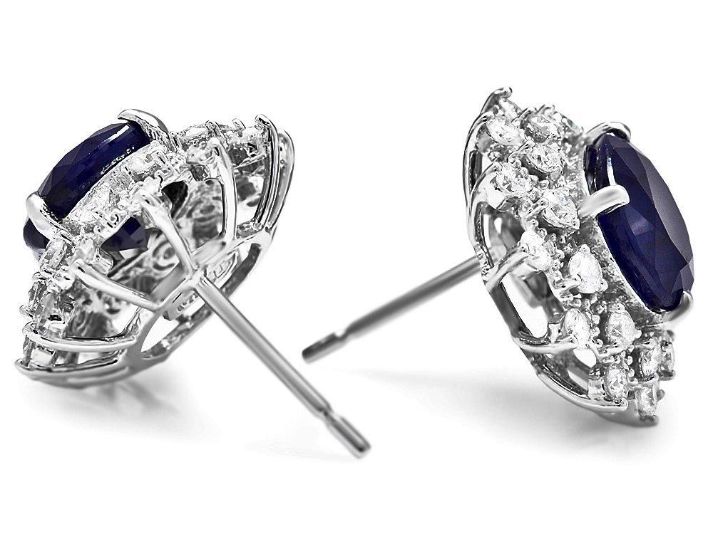 14k Gold 6ct Sapphire 1.25ct Diamond Earrings