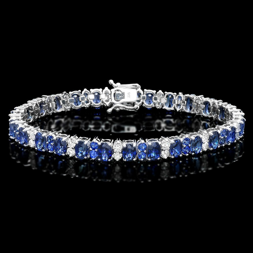 14k Gold 18ct Sapphire 1.80ct Diamond Bracelet