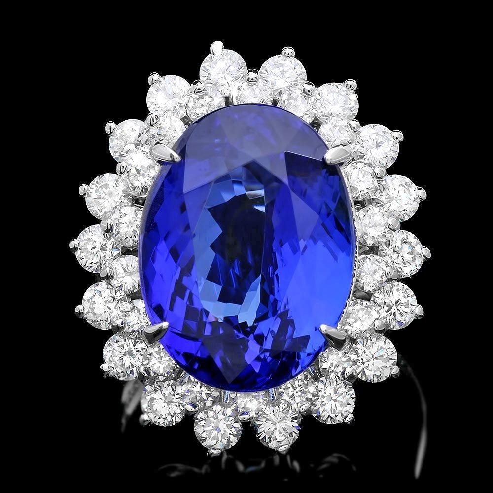 14k Gold 11.00ct Tanzanite 2.30ct Diamond Ring