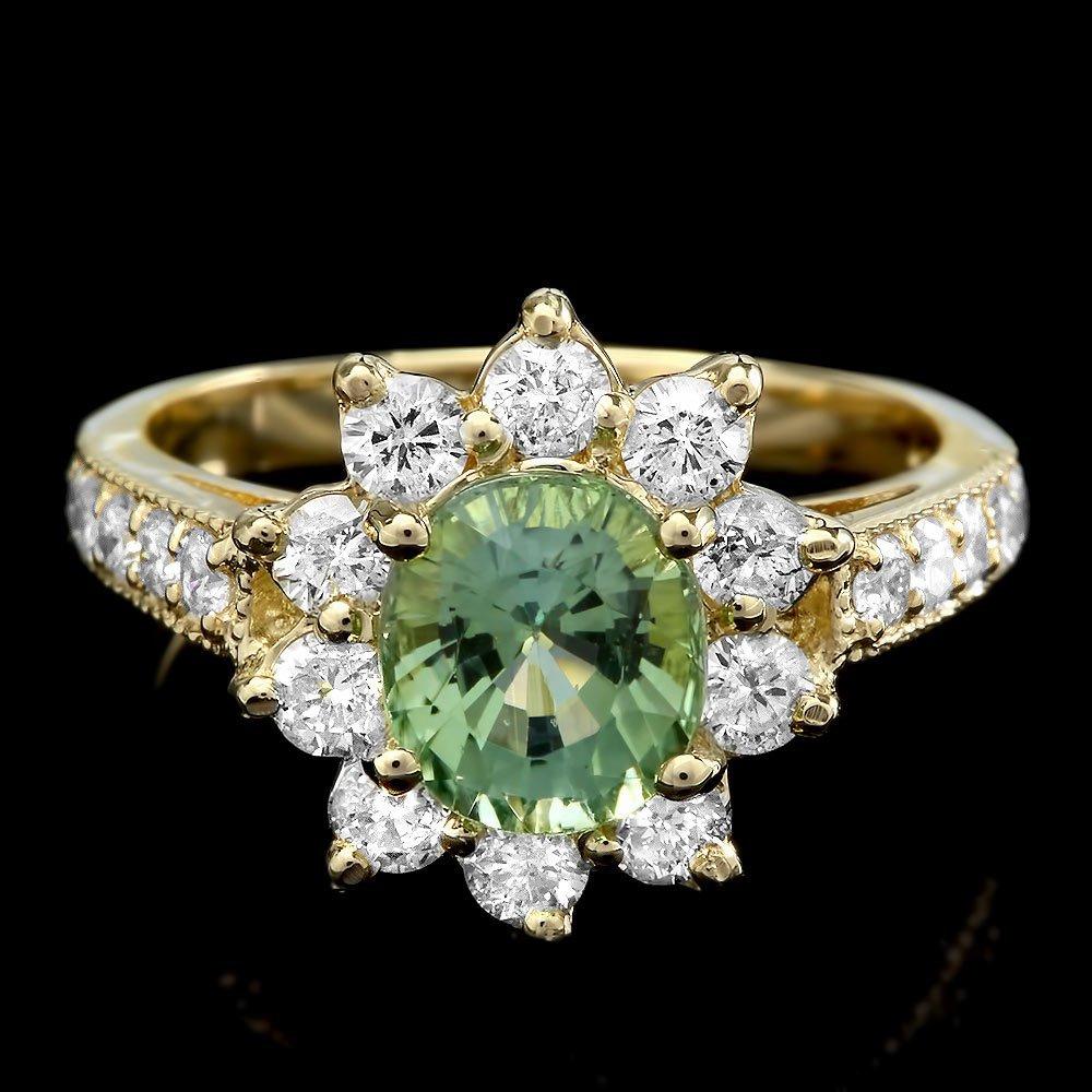 14k Gold 1.74ct Tourmaline 1.10ct Diamond Ring