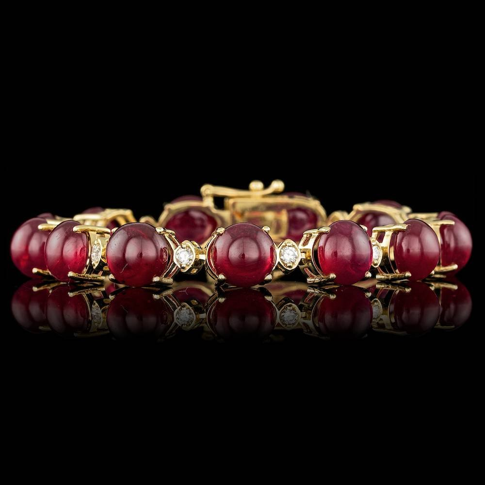 14k Gold 64.00ct Ruby 0.95ct Diamond Bracelet