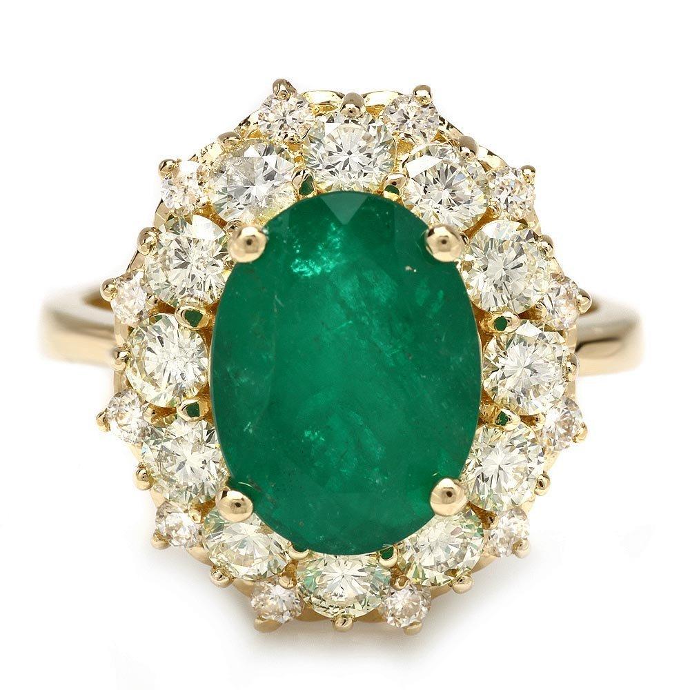 14k Gold 3.70ct Emerald 1.70ct Diamond Ring