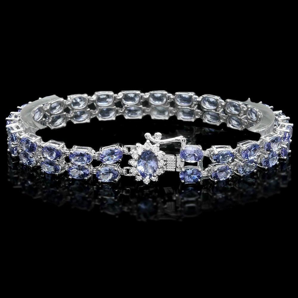 14k Gold 20ct Tanzanite .40ct Diamond Bracelet